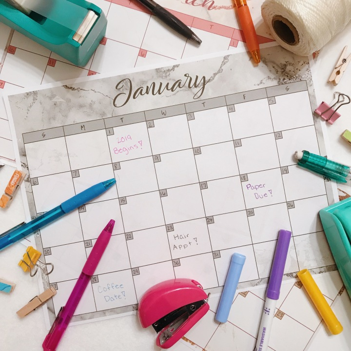 2019 Monthly Calendars